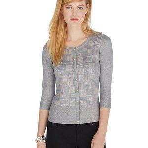WHBM Size M Gray 3/4 Sleeve Studded Cardigan New